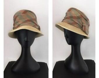 60s Raffia and Organza Silk Bucket Hat