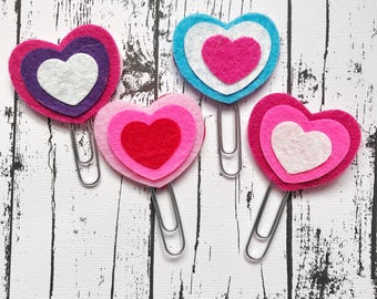 Handmade Felt Heart Paperclip Bookmarks