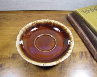 Hull Oven Proof Saucer - Brown - Tan Drip Glaze Rim
