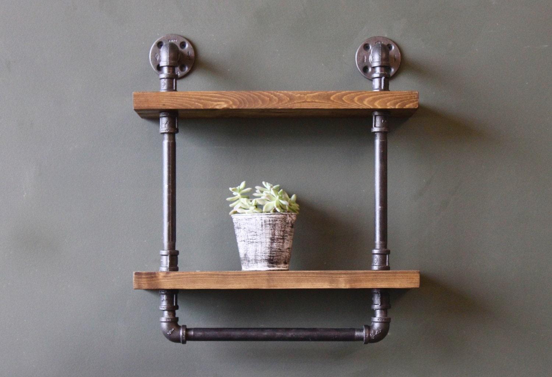 Rustic shelf with towel bar bathroom shelves bathroom wall - Bathroom wall cabinet with towel rack ...