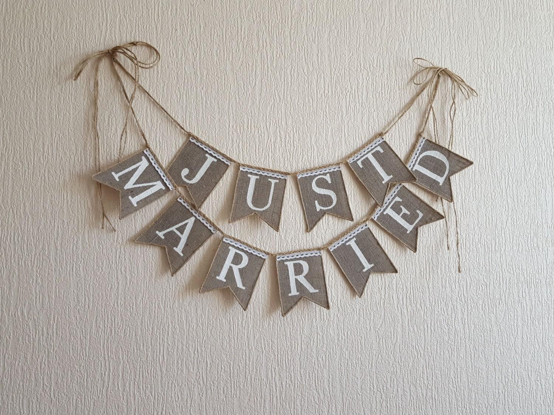 Just Married Wedding Banner Rustic Wedding Bannerjust