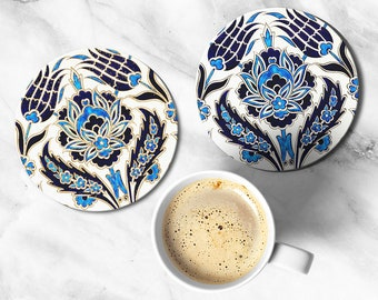 Morocco Coasters, Home and Living, Gold Blue Coaster, Kitchen and Dining, Glass Coasters, Drink and Barware, Kitchen Mom Gift, Housewarming