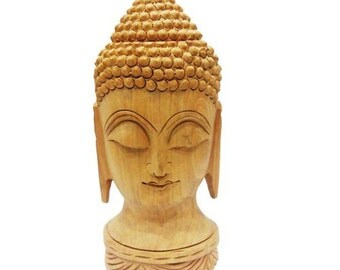 """Wooden Carving Buddha Face """"8 Inches'"""