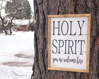 Holy Spirit You Are Welcome Here wood sign, Minimalist Wood Sign, Black and White Wood Sign, Holy Spirit Sign, Simple Wood Signs, Farmhouse
