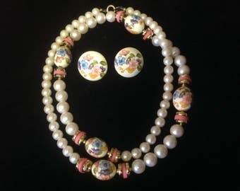 Vintage Japan  Demi Parure Beads and Earrings, vintage Jewellery Sets, Vintage. Japan Jewellery