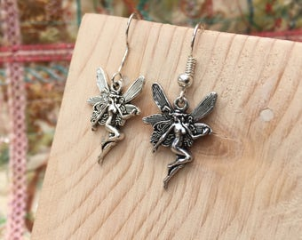 Silver Fairy Earrings, Fairy Earrings, Silver Earrings, Silver Earrings, Fairy Jewelry, Silver Jewelry, Flower Fairy, Silver Fairy