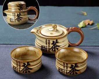 Chinese Travel Tea Set Ceramic Tea Set Pottery Gift For Him, Free Shipping