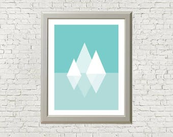 Abstract Geometric Mountain Reflections Print - Turqouise and White - 8 x 10