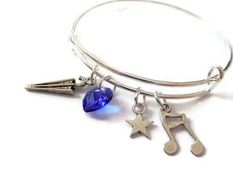 Singing in the Rain gift, musical bangle, musical bracelet, music gift, singing gift, theatre gift, music favors, theater favors