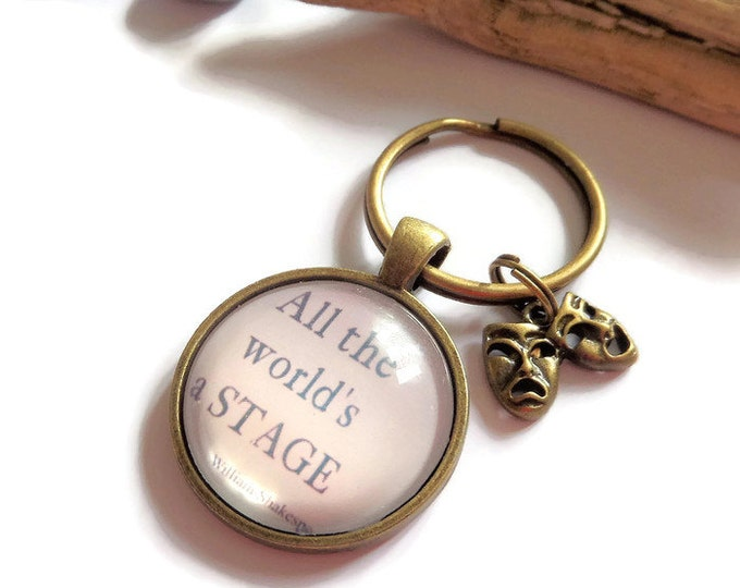 """SHAKESPEARE inspired """"all the world's a stage"""" 25mm 1"""" glass dome drama theatre theater fan gift jewellery UK"""