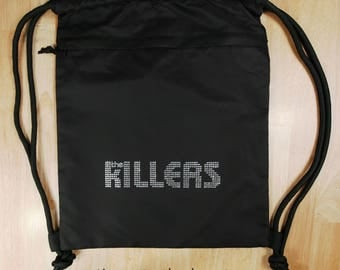"""The Killers logo (7.5"""" x 1.75"""") in brilliant rhinestones Deluxe Drawstring and (Zipper side pouch) Bag- ** Free Shipping in the U.S.**"""
