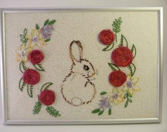 Framed Handmade Embroidery - Hare Among Flowers