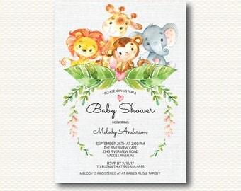 Safari Baby Shower Invitation, Jungle, Giraffe, Baby Shower, Elephant, Monkey, Lion, Neutral, Girls, Boys, Unique, Digital, Printable,