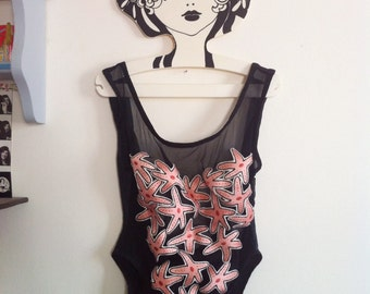 funky black one piece swimsuit Karla Colletto, open back and mesh front with starfish embroideries / small - medium