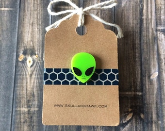 Alien Lapel Pin / Tie Tack - Green Laser Cut Acrylic - Little Green Man