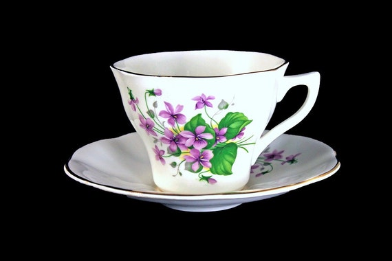 Teacup and Saucer, Bone China, Violet Floral Pattern, Made in England, Scalloped Edge, Gold Trimmed