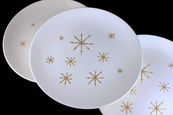 Dinner Plates, Royal China (USA), Star Glow, Gold Star Design, White and Gold, Set of 3