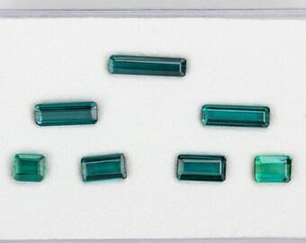 CADINGEMS 5.41ct 7pcs natural INDICOLITE blue TOURMALINE 4.6mm to 11.7mm brazil