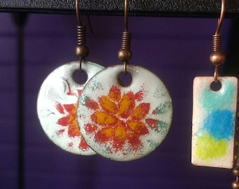 Hand crafted fire torch enamel earrings