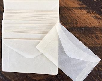 100 VINTAGE GLASSINE ENVELOPES, Made In Canada Envelopes, Non-Toned Envelopes, Wedding Craft Envelopes