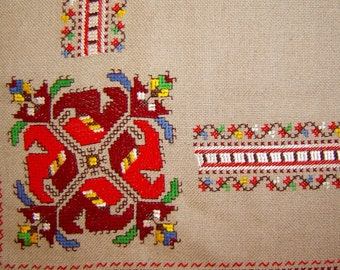 Bulgarian linen Hand Embroidered Table Cover, Cloth napkin