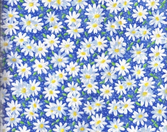 Blue White Yellow Daisy Floral Curtain Valance