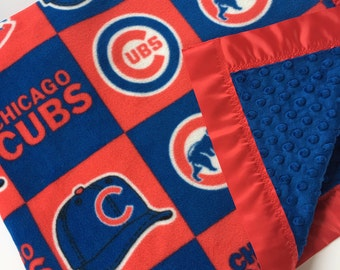Chicago Cubs Baseball Fleece and Minky Blanket with Red Satin Binding