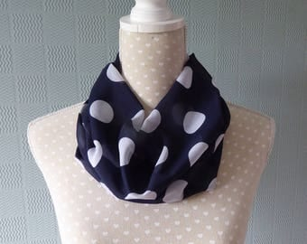 Blue and white polka dot snood scarf,  blue chiffon snood,  blue chiffon cowl with white polka dot