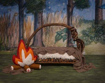Digital Newborn Backdrop Campfire Camping Forest Twig Bed. One of a kind Prop!