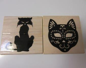 Halloween Stamps-Black Cat Rubber Stamp-Sugar Skull Cat Stamp
