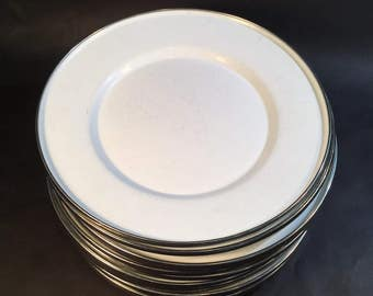 Formation Enamelware Plates, White Vintage with Chrome Metal Edging, Chargers, Cottage Chic, Farmhouse, Wedding, Party, Glamping, Camping