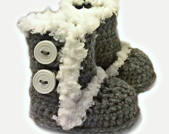 """Free Shipping - Gray, Black, Or White Crocheted """"UGG"""" Inspired Baby Booties - Shoes - Baby Shoes - Baby Girl - Baby Boy"""