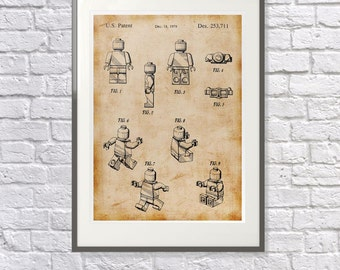Perfect gift for the Lego lover: Lego Art / Print / Poster -Vintage /  - Lego Man Patent  - Unique Gift idea Lego Fan Fanatic
