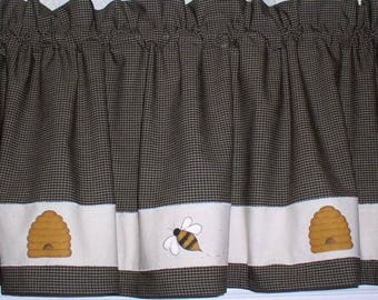 Hand Painted Honey Bees And Hives Homespun Valances Tiers Runners Towels Primitive Country Home Decor