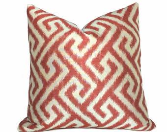 Kravet Geometric Greek Key Ikat Red Ivory Pattern Pillow Cover,  Fits 22x22 Cushion Inserts