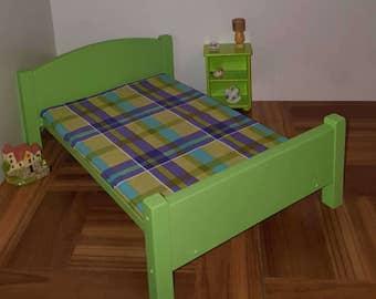 Cal verde muñeca cama matrimonial con colchón de espuma / 1:6 escala de bed / cama playscale / barbie cama / 1/6 escala muebles / cama verde de la cal