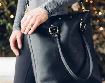 the sirah zipper tote // black full-grain kodiak leather // heavy-duty industrial brass zipper closure, detachable strap +  handle straps