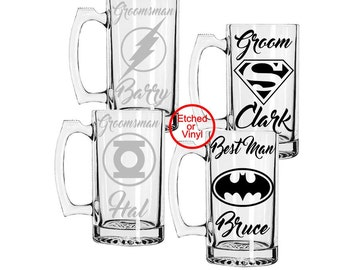 Set of 6, Hero  Inspired Beer Mugs,Etched or Vinyl Mugs, Groomsmen Gift, Wedding Favors Superman, Batman, Deadpool