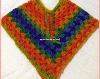 Poncho baby wool, handmade