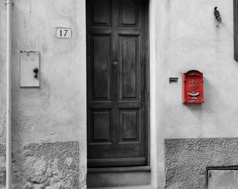 Black and white door print - travel print - Red coloursplash photography print - Black and white photography print - red wall art