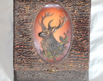 Antique Celluloid Collar & Jewelry Box Double Compartment Elk Stag Celluloid Wood Box Silk Lined