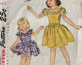 Simplicity 2388 girls dress & panties size 2 vintage 1940's sewing pattern