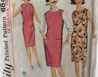 Simplicity 5377 misses junior petites dress or jumper & blouse size 9 bust 32 1/2 bust 32.5 vintage 1960's sewing pattern