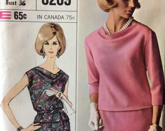 Simplicity 6269 vintage 1960's misses two-piece dress sewing pattern  size 16 bust 36  Uncut  Factory Folds   Designer Fashion