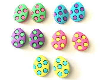 Easter Egg Stud Earrings, Decorated Eggs, Pink, Blue, Yellow, Blue, Purple