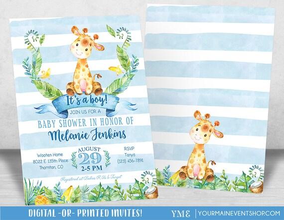 Boy Baby Shower Invitation,Giraffe Baby Shower Invitation, Jungle Baby Shower Invite, Tropical Safari Animals Baby Shower, It's a boy