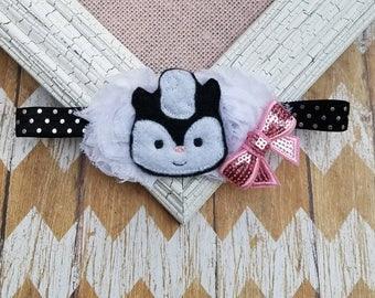 Skunk headband, skunk baby headband, animal headband, girls headband, toddler headband, baby skunk headband, baby shower gift, headband