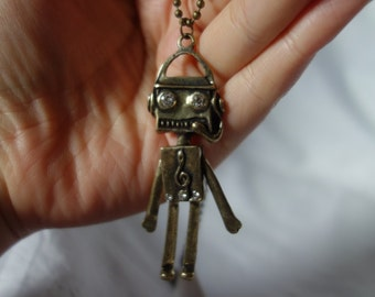 Robot Retro Bronze Colour Pendant Necklace CLOSING DOWN SALE