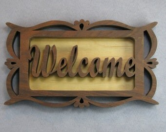 Welcome sign, framed welcome wall hanging, welcome scrollsaw sign