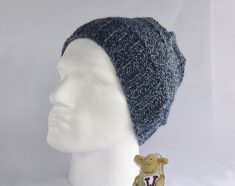 Men's knitted hat - beanie style hat -  variegated indigo and airforce blue